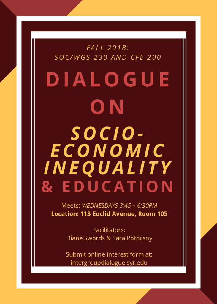 Dialogue on Socioeconomic Inequality flier for fall 2018