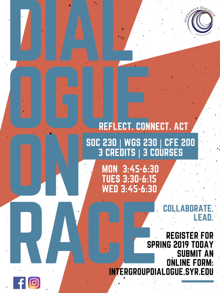 Announcement of Dialogue Courses for Spring 2019. Reflect. Act. Connect. Collaborate. Lead.