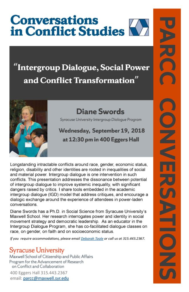 Announcement for PARCC Conversation with Diane Swords, Ph.D.