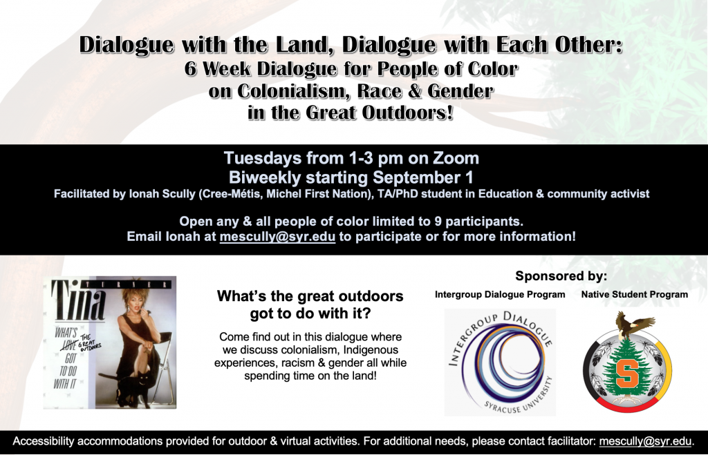 """Flyer with black lettering depicting the dialogue details as noted above and black banners in the middle and bottom of the flyer with white lettering. Also pictured is the IGD logo, a blue swirl, and the Native Student Program logo, picturing the Tree of Peace with an eagle on top and the SU """"S"""" in an orange block text in the middle. The tree is centered in the medicine wheel colors (white, yellow, red,black) circling the image."""